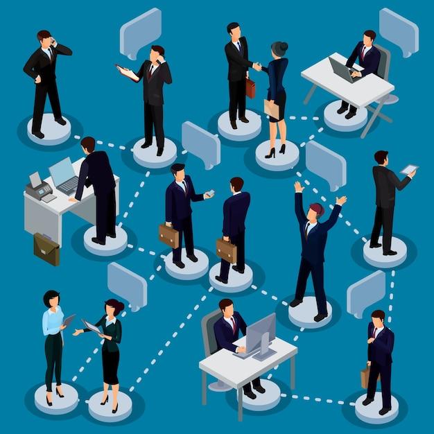 Set van isometrische mensen in zakelijke pakken in het kantoor. Gratis Vector