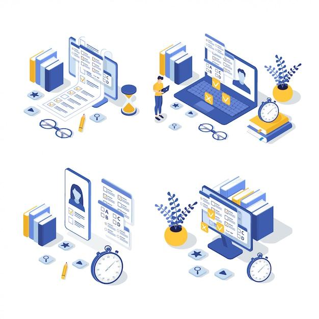Set van isometrische online onderwijs illustratie Premium Vector
