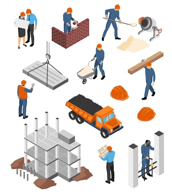 Set van isometrische pictogrammen architecten met blauwdrukken en bouwers aan het werk met geïsoleerde bouwmaterialen Gratis Vector