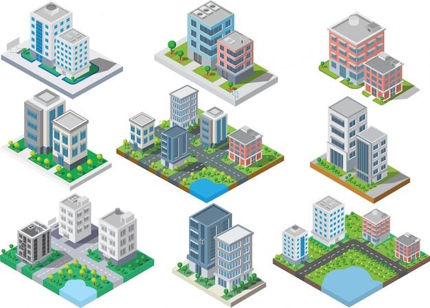 Set van isometrische stadsbouw Premium Vector