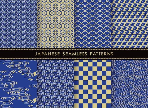 Set van japanse naadloze vector vintage patronen Gratis Vector
