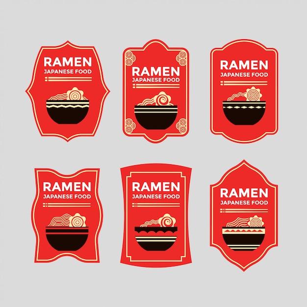 Set van japanse noedels of ramen badges Premium Vector