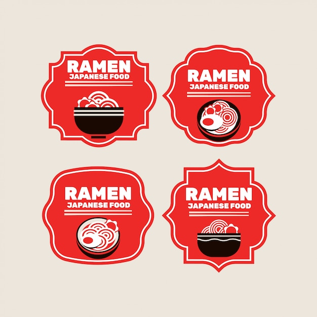Set van japanse noedels of ramen badges Premium Vector