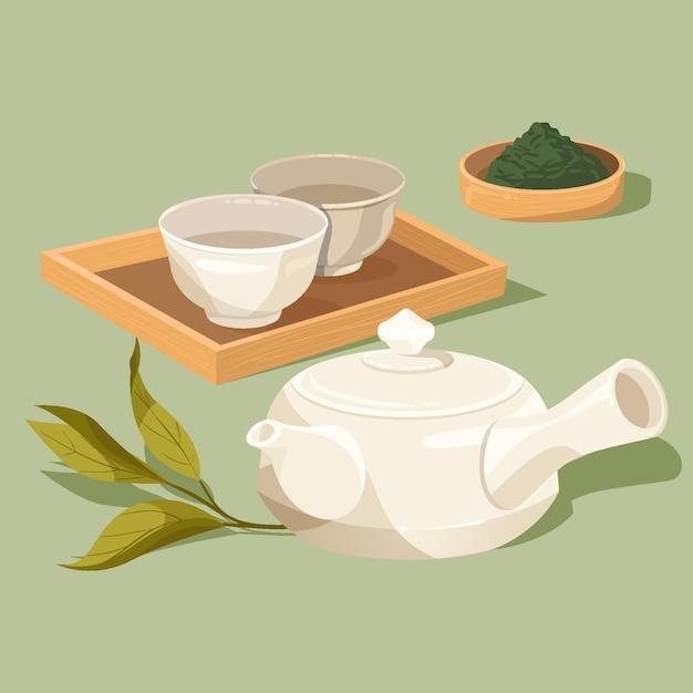 Set van japanse thee en kopjes Gratis Vector