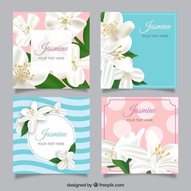Set van jasmijnkaarten in realistische stijl Gratis Vector