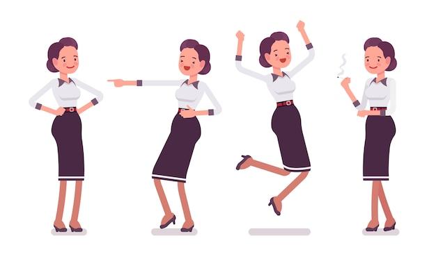 Set van jonge aantrekkelijke secretaresse die positieve emoties toont Premium Vector