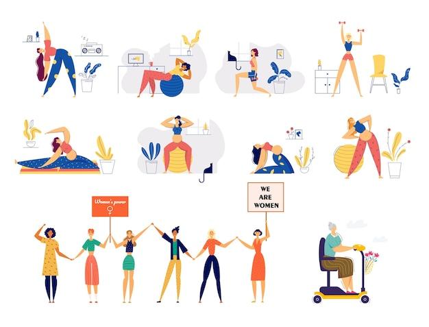 Set van jonge en senior vrouwen levensstijl. Premium Vector