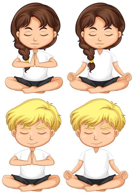 Set van jonge kinderen mediteren Premium Vector