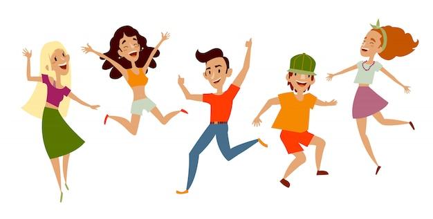 Set van jonge mensen dansen en plezier maken Premium Vector