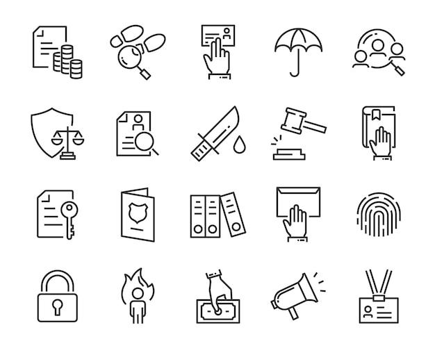 Set van juctice iconen, zoals wet, advocaat, werk, legaal, veilig Premium Vector