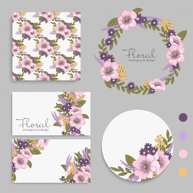 Set van kaart met paarse bloemen, bladeren. Gratis Vector