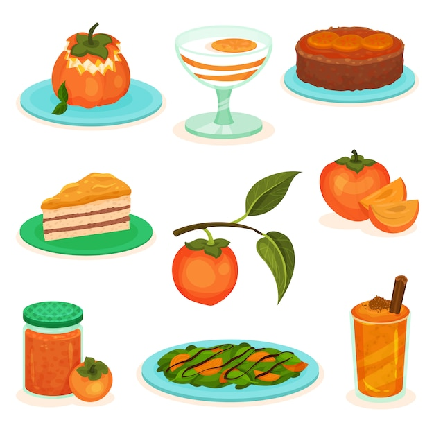 Set van kaki desserts en drankjes. gebak, yoghurt en smoothie. zoet en lekker fruit. salade, bankje jam Premium Vector