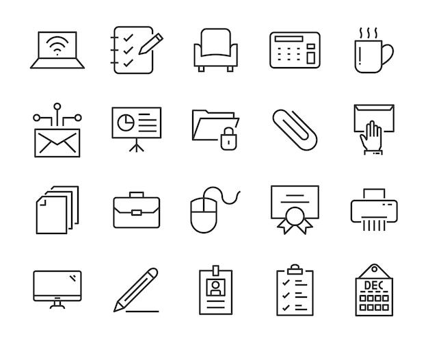 Set van kantoor iconen, zoals vergaderruimte, document, koffie, papier, pen, laptop Premium Vector