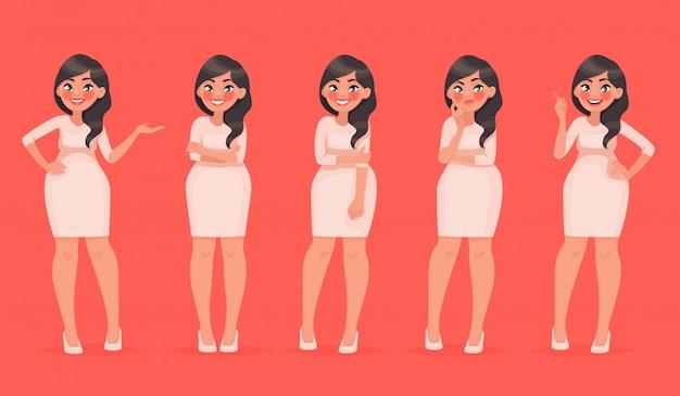 Set van karakter een mooie vrouw in verschillende poses. mooi meisje voor je modeproject Premium Vector