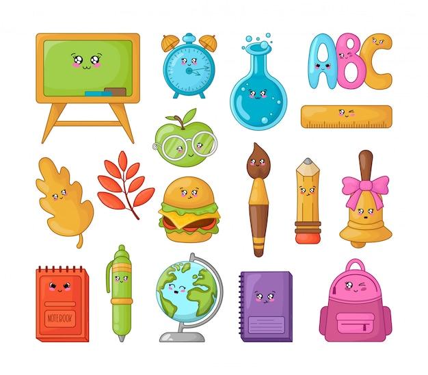 Set van kawaii cartoon schoolbenodigdheden, terug naar school Premium Vector