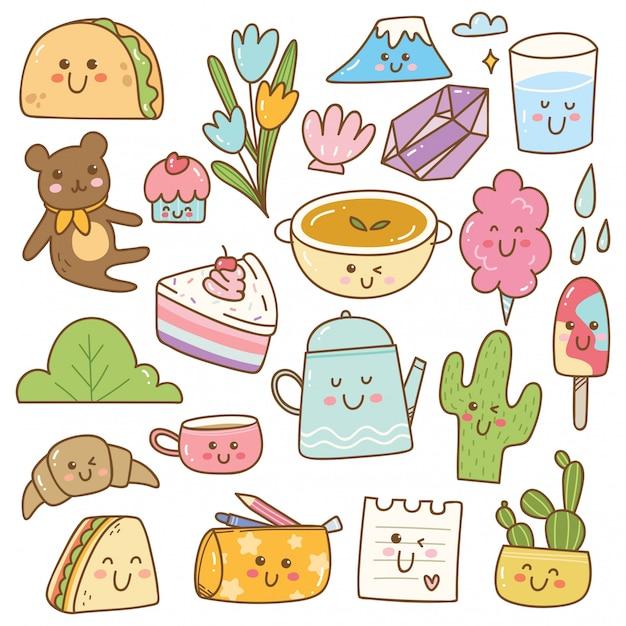 Set van kawaii doodles, leuke stickers, mode-patches Premium Vector