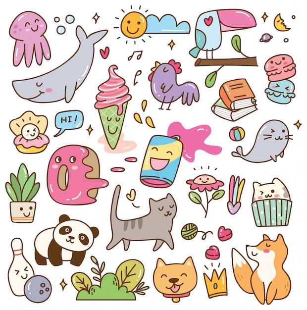 Set van kawaii doodles Premium Vector