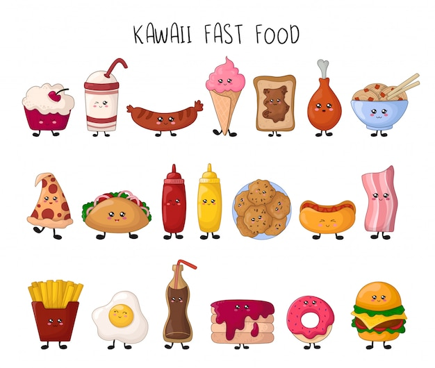 Set van kawaii fast food - snoep, junk food, hamburger Premium Vector