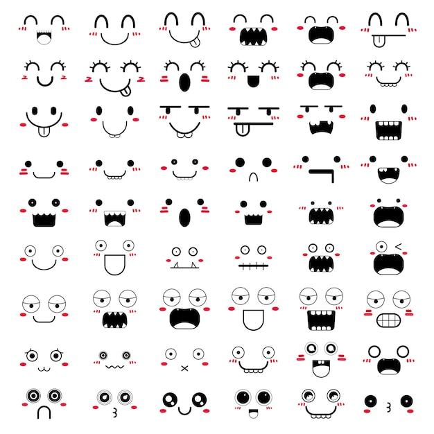 Set van kawaii gezicht pictogram ontwerp. Premium Vector