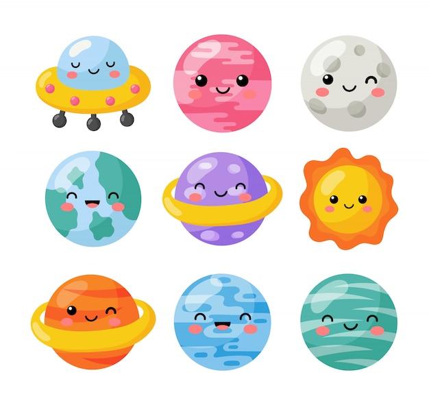 Set van kawaii ruimte pictogrammen. planeten cartoon stijl. geïsoleerd Premium Vector