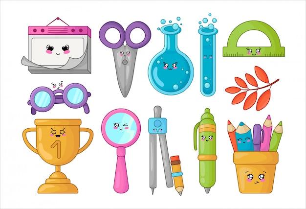 Set van kawaii schoolbenodigdheden, terug naar school concept, schattige stripfiguren Premium Vector