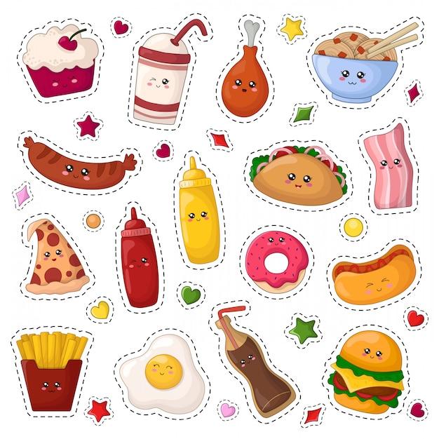 Set van kawaii sticker of patch met cartoon fast food Premium Vector
