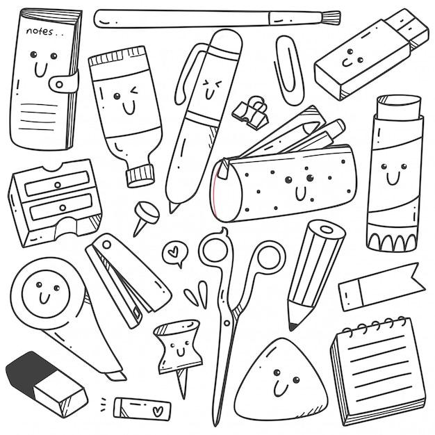 Set van kawaii stijl stationaire doodles lijntekeningen Premium Vector