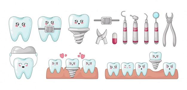 Set van kawaii tanden tandheelkunde gereedschappen implantaten met verschillende emodji Premium Vector