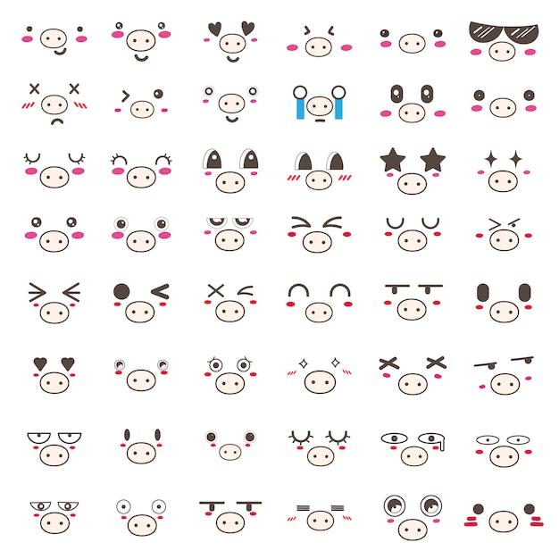 Set van kawaii varken gezicht pictogram ontwerp. Premium Vector