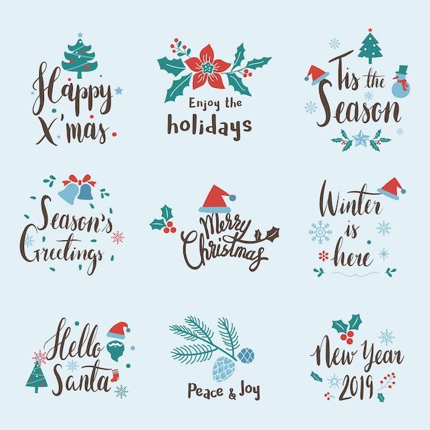 Set van kerst begroeting badge vectoren Gratis Vector