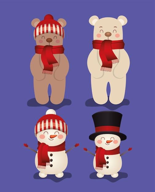 Set van kerst in paarse achtergrond afbeelding Premium Vector