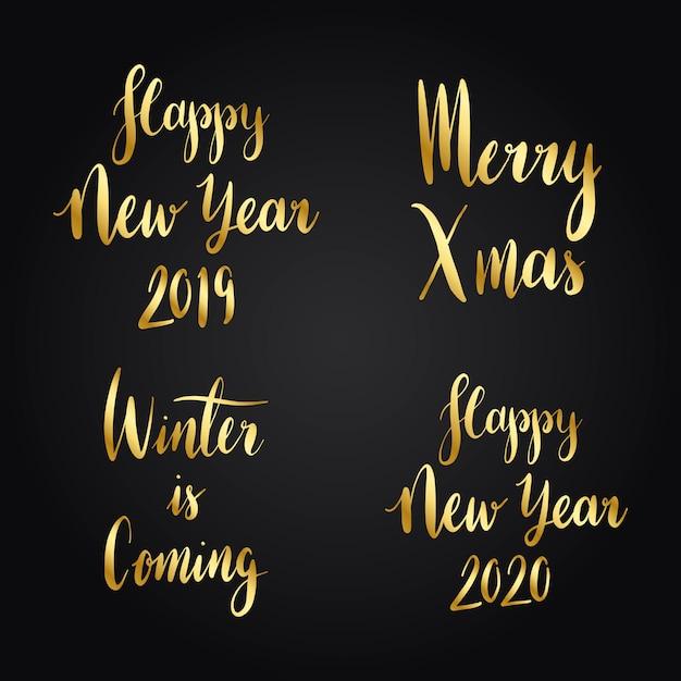 Set van kerst vakantie typografie vectoren Gratis Vector
