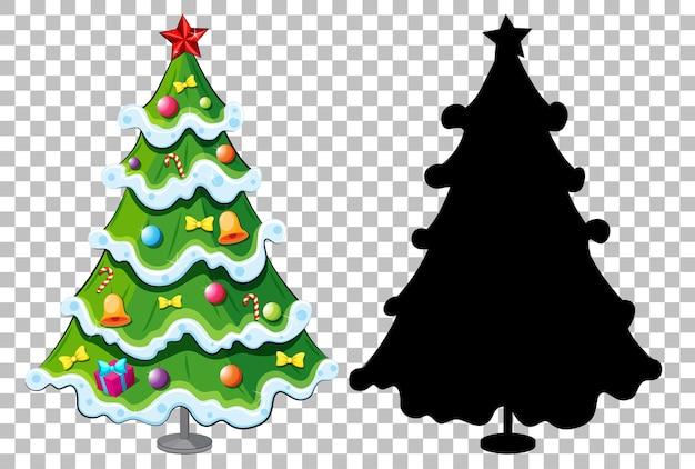 Set van kerstboom op transparant Gratis Vector