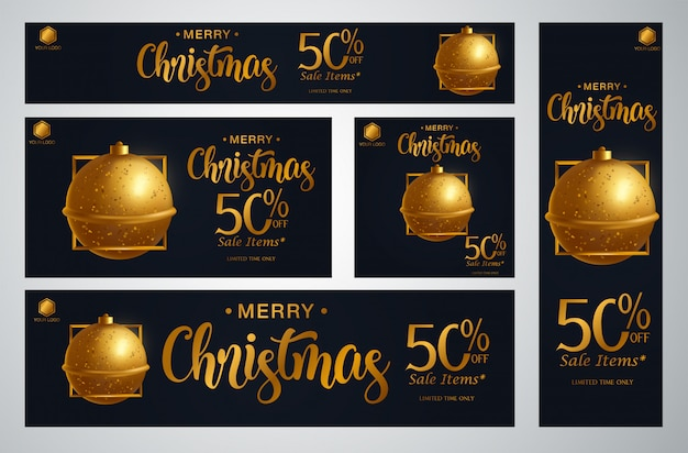 Set van kerstmis banner vectorillustratie Premium Vector