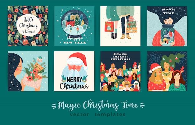 Set van kerstmis en gelukkig nieuwjaar illustraties kaartenset Premium Vector