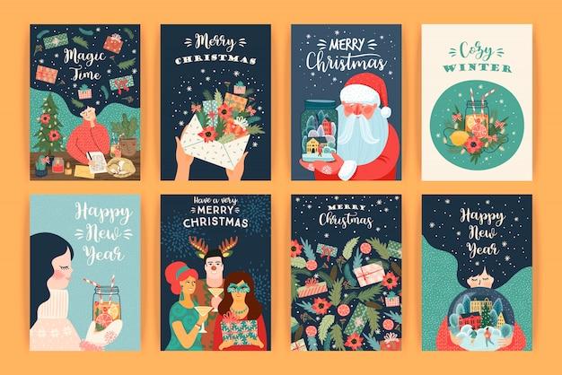 Set van kerstmis en gelukkig nieuwjaar illustraties. vector ontwerpsjablonen. Premium Vector