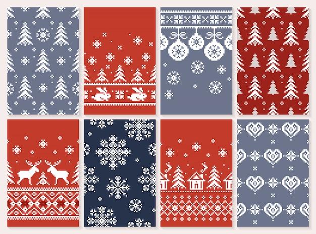 Set van kerstmis naadloze patroon eindeloze textuur voor behang retro-stijl. Premium Vector