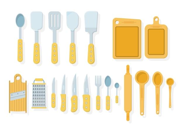 Set van keukengerei op een witte achtergrond. pictogrammen in stijl. veel houten keukengereedschap, keukengerei, bestek. keukengerei collectie. illustratie,. Premium Vector