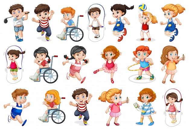 Set van kinderen karakter Gratis Vector