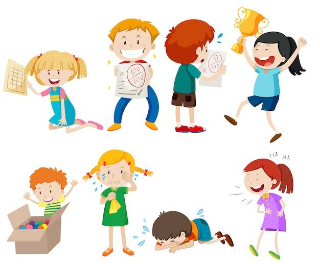 Set van kinderen scène Gratis Vector