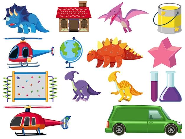 Set van kinderen speelgoed illustratie Premium Vector