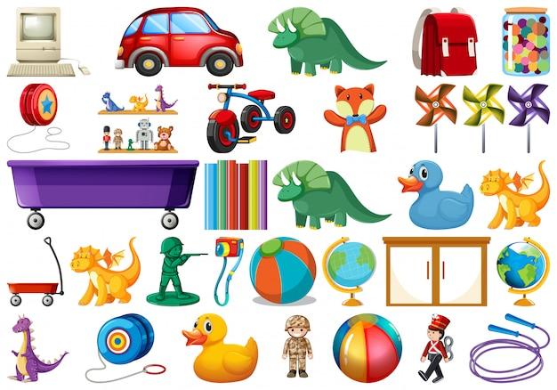 Set van kinderen speelgoed Gratis Vector