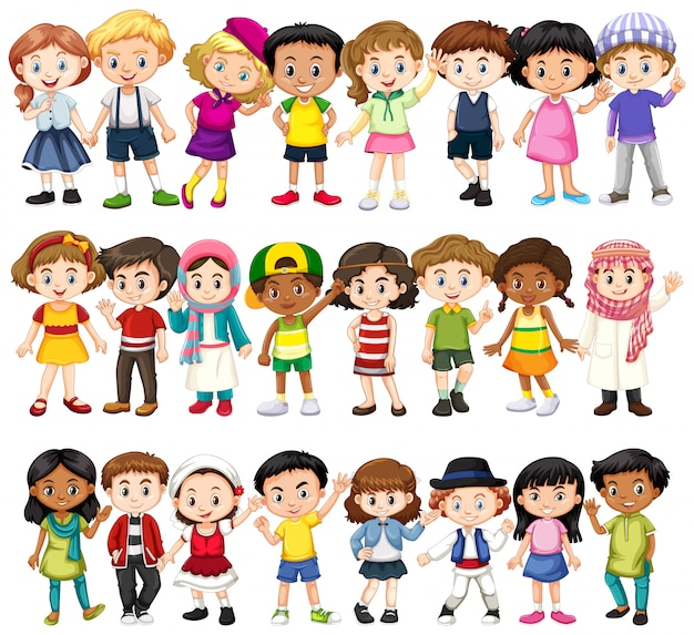 Set van kinderen van verschillende rassen Gratis Vector