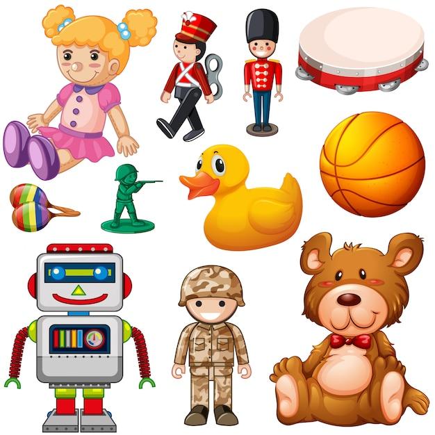 Set van kinderspeelgoed Premium Vector