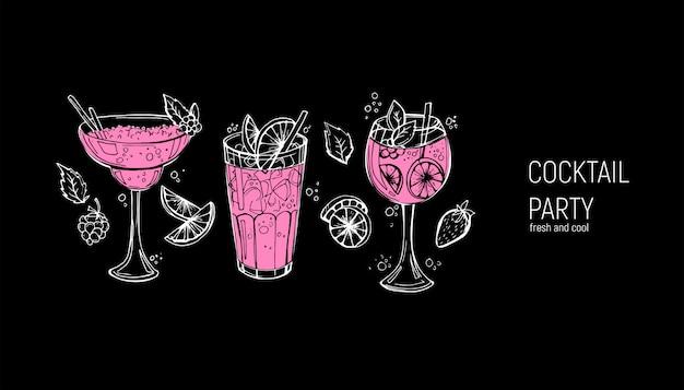 Set van klassieke alcoholische cocktails. Premium Vector