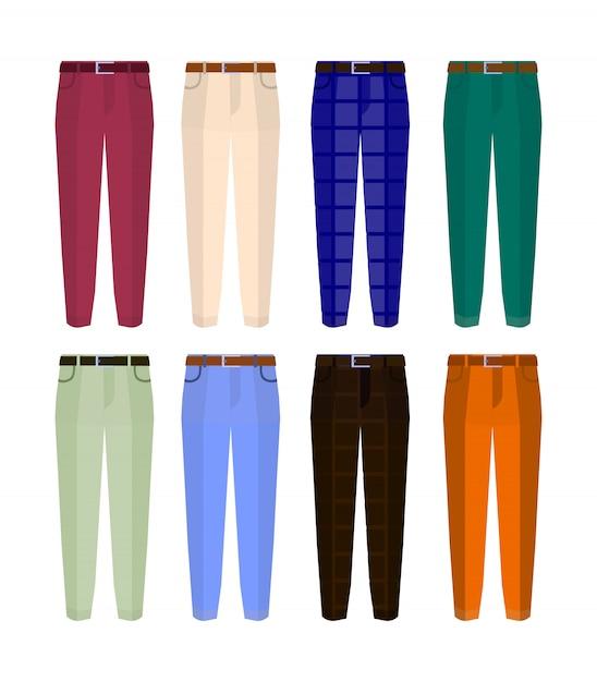 Set van klassieke broeken voor heren in verschillende kleuren. Premium Vector