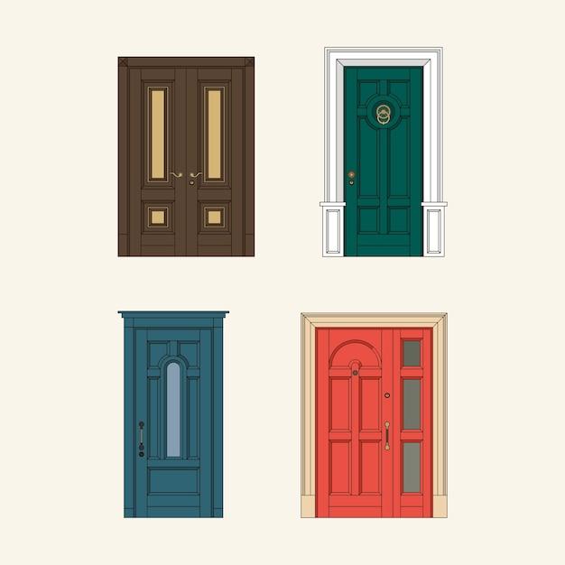 Set van klassieke deuren Premium Vector