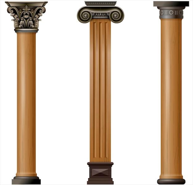 Set van klassieke houten kolommen Premium Vector