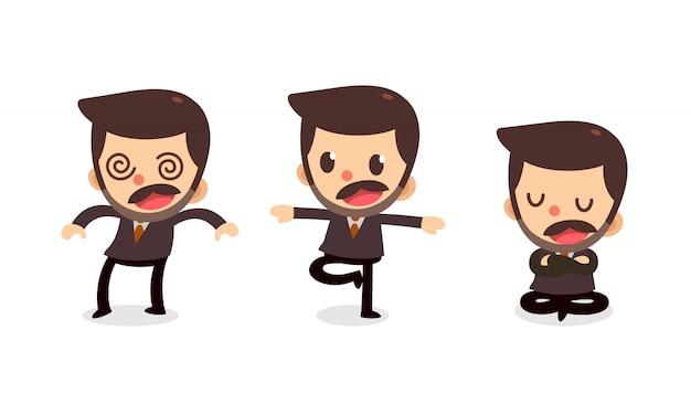 Set van kleine zakenman karakter in acties. doof gevoel. Premium Vector