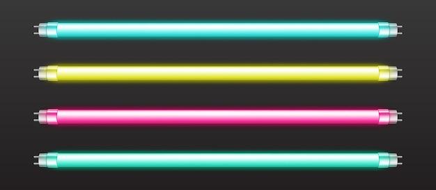 Set van kleur neon buisverlichting Gratis Vector